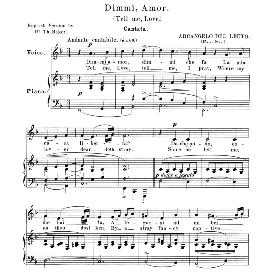 Dimmi, amor, Medium Voice in F Major, A.Del Leuto. For Mezzo, Baritone, Soprano. Anthology of Italian Song of the 17th and 18th centuries (Parisotti), Vol.2, Schirmer (1894 | eBooks | Sheet Music