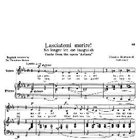 lasciatemi morire, low voice in c minor, c.monteverdi. transposition for low voice. for contralto, countertenor. source: anthology of italian song of the 17th and 18th centuries (parisotti), vol.2, schirmer (1894)