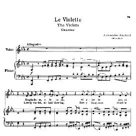 le violette, low voice in e-flat major, a. scarlatti. transposition for low voice. for bass, contralto, countertenor. ed. schirmer.
