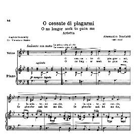 O cessate  di piagarmi, High Voice in G Minor, A Scarlatti. For Soprano, Tenor. Transposition for High Voice. Source: Anthology of Italian Song of the 17th and 18th centuries (Parisotti), Vol.1, Schirmer (1894) | eBooks | Sheet Music
