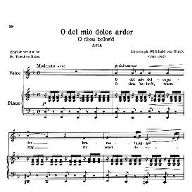 o del mio dolce ardor, low voice in d minor, c.w.gluck. for contralto, bass. transposition for low voice. source: anthology of italian song of the 17th and 18th centuries (parisotti), vol.1, schirmer (1894)