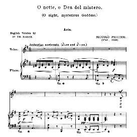 O notte dea  del mistero, Medium-Low Voice in E Minor, N.iPiccini. schirm | eBooks | Sheet Music