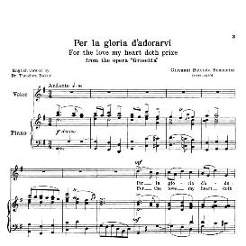per la gloria d'adorarvi, low voice in d major. for contralto, bass. transposition for low voice. source: anthology of italian song of the 17th and 18th centuries, parisotti vol. 1, schirmer (1894)
