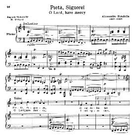 pieta, signore, low voice in a minor, a. stradella. for contralto, bass, countertenor. schirmer (1914)