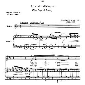 plaisir d'amour, low voice in e flat major, j. p. martini. for mezzo, contralto, bass, countertenor. anthology of italian song of the 17th and 18th centuries, parisotti vol. 1, schirmer (1894)