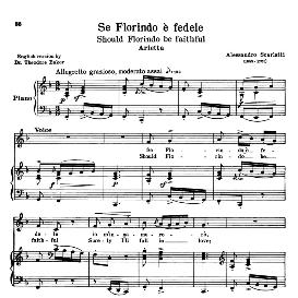 se florindo e fedele, low voice in f major, a; scarlatti. for contralto, bass. transposition for low voice, schirmer. source: anthology of italian song of the 17th and 18th centuries, parisotti vol. 1, schirmer (1894)