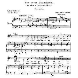 sen corre l'agneletta, medium voice in f minor, d. sarri. for mezzo, baritone. anthology of italian song of the 17th and 18th centuries, parisotti vol. 2, schirmer (1894)