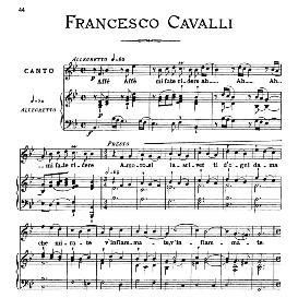 affè affè mi fate ridere, medium voice in b flat major, f.cavalli. for mezzo, baritone. from: arie antiche (parisotti) -3-ricordi (1889)
