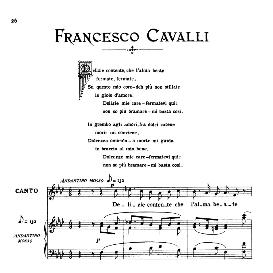 delizie contente, low voice in f minor, f.cavalli. for contralto, bass, countertenor. from: arie antiche (parisotti) -2-ricordi (1889)