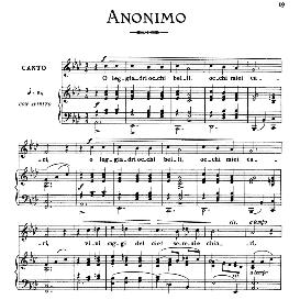 o leggiadri occhi belli, low voice in a flat major, anonimo. for contralto, bass, countertenor; from: arie antiche (parisotti) -3-ricordi (1898