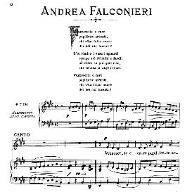 vezzosette e care, medium-low voice in e major, a.falconieri. ed. ricordi