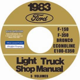 1983 ford bronco, econoline e100-e350 & f100-f350 pick up truck shop manual