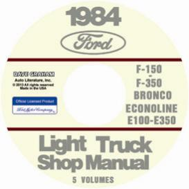 1984 ford bronco, econoline e100-e350 & f100-f350 pick up truck shop manual