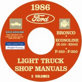 1986 ford bronco, econoline e100-e350 & f100-f350 pick up truck shop manual