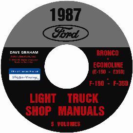 1987 ford bronco, econoline e100-e350 & f100-f350 pick up truck shop manual