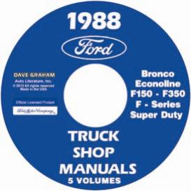 1988 ford bronco, econoline e100-e350 & f100-f350 pick up truck shop manual