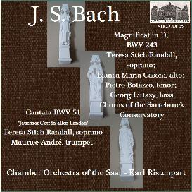 bach: magnificat in d, bwv 243; cantata bwv 51 - teresa stich-randall, soprano; maurice andré, trumpet - chamber orchestra of the saar - karl ristenpart