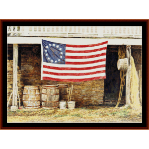 american flag - americana cross stitch pattern by cross stitch collectibles
