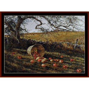 apple basket - americana cross stitch pattern by cross stitch collectibles