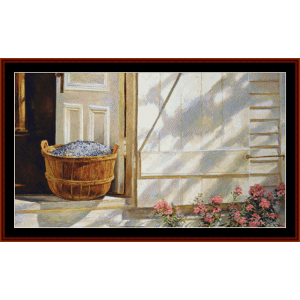 blueberries & phlox - americana cross stitch pattern by cross stitch collectibles