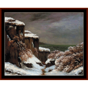 cliffs by the sea - courbet cross stitch pattern by cross stitch collectibles