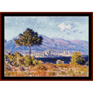 view of antibes - monet cross stitch pattern by cross stitch collectibles