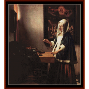 woman holding a balance - vermeer cross stitch pattern by cross stitch collectibles