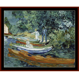 bank of the oise at auvers - van gogh cross stitch pattern by cross stitch collectibles