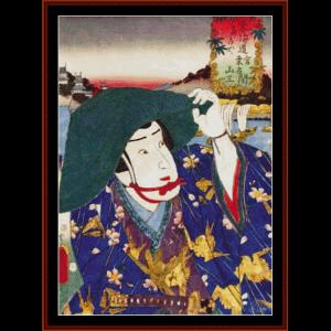 ukiyo-e 10 - asian art cross stitch pattern by cross stitch collectibles