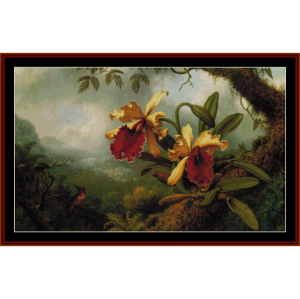 orchids and hummingbird - heade cross stitch pattern by cross stitch collectibles