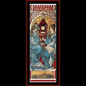 Benedictine - Mucha cross stitch pattern by Cross Stitch Collectibles | Crafting | Cross-Stitch | Wall Hangings