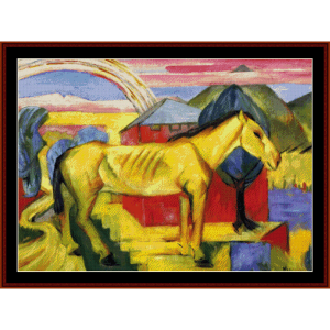 long yellow horse - marc cross stitch pattern by cross stitch collectibles