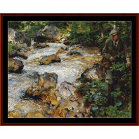 trout stream in the tyrol - sargent cross stitch pattern by cross stitch collectibles