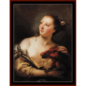 Woman with Parrot - Tiepolo cross stitch pattern by Cross Stitch Collectibles | Crafting | Cross-Stitch | Wall Hangings