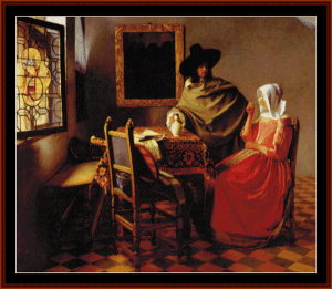 the glass of wine - vermeer cross stitch pattern by cross stitch collectibles