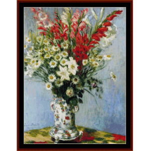 bouquet of gladiolas - monet cross stitch pattern by cross stitch collectibles