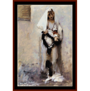 parisian begging girl - sargent cross stitch pattern by cross stitch collectibles