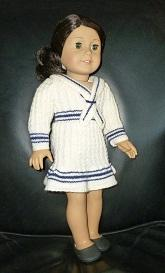 doll knitting pattern - pk004 - white & navy stripes dress