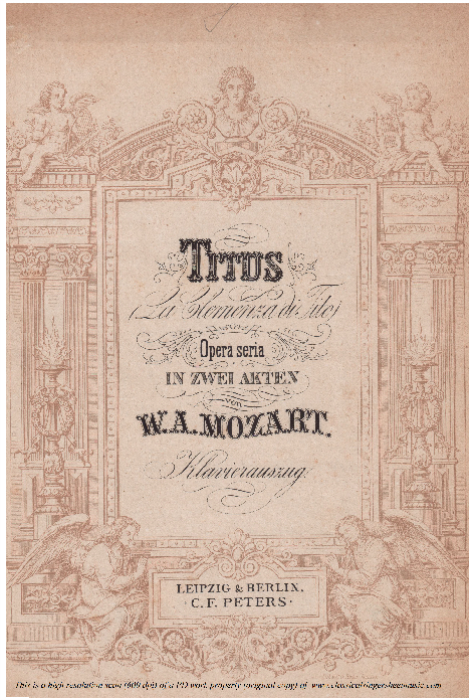 First Additional product image for - Deh, se piacer mi vuoi (Soprano Aria). W.A.Mozart: La clemenza di Tito, K.621, Vocal Score. Ed. Peters Leipzig, 1870 (italian)