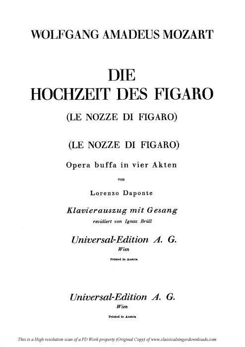 First Additional product image for - Non so più cosa son, cosa faccio (Aria for Soprano or Mezzo). W.A.Mozart: Le Nozze di Figaro (The Marriage of Figaro), K. 492. Vocal Score (Brüll). Universal Edition UE 177 (1901) Italian