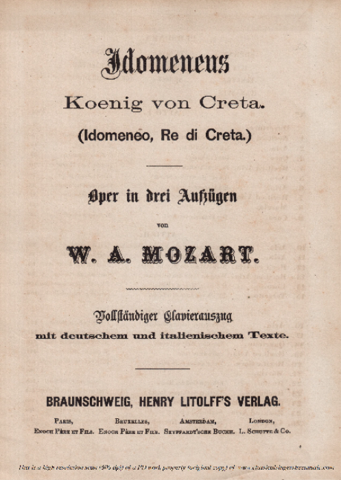 First Additional product image for - Se il padre perdei (Soprano Aria). W.A.Mozart: Idomeneo K.366, Vocal Score. Ed. Braunschweig-Litolff 147 (1900). Italian