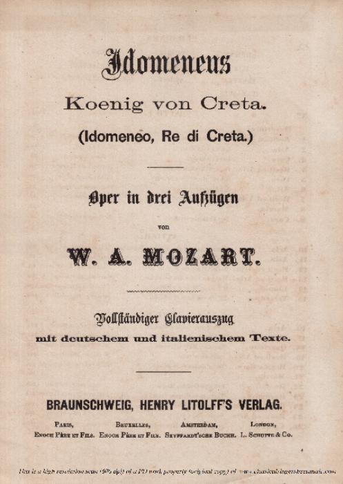 First Additional product image for - Non ho colpa, e mi condanni (Aria for Mezzo/Tenor). W.A.Mozart: Idomeneo K.366, Vocal Score. Ed. Braunschweig-Litolff 147 (1900). italian