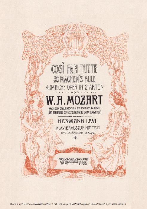 Second Additional product image for - Ah! lo veggio quell' anima bella (Tenor Aria). W.A.Mozart: Cosi fan tutte, K.588, Vocal Score (H. Levi). Universal Edition (VA 1666), reprint from Breitkopf (1898) Italian
