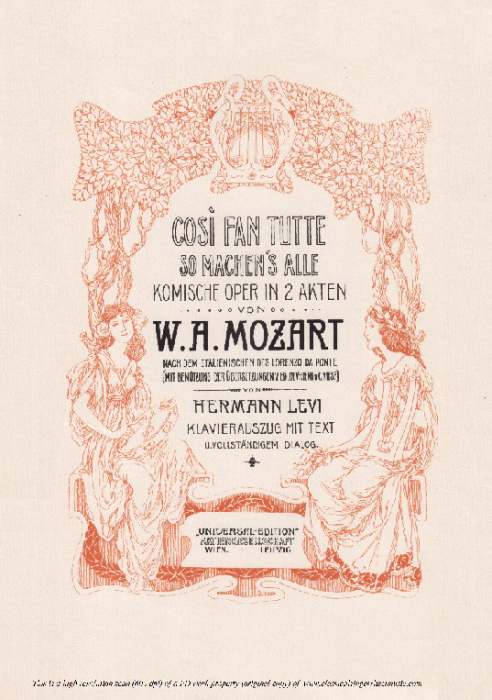 Second Additional product image for - Ah! lo veggio quell' anima bella (Tenor Aria). W.A.Mozart: Cosi fan tutte, K.588, Vocal Score (H. Levi). Universal Edition (VA 1666), reprint from Breitkopf (1898) Italian