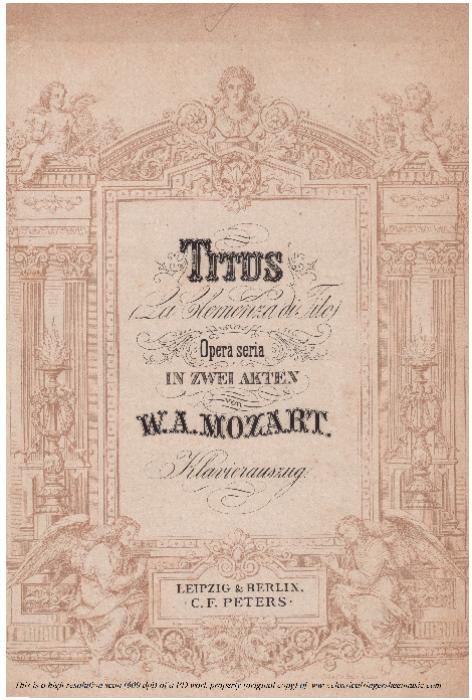First Additional product image for - Del più sublime soglio (Tenor Aria). W.A.Mozart: La clemenza di Tito, K.621, Vocal Score. Ed. Peters Leipzig, 1870 (Italian)
