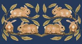 morris rabbits cross stitch pattern