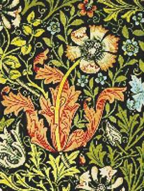 william morris flower cross stitch pattern
