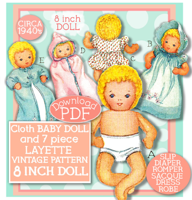 "First Additional product image for - Make an 8"" Cloth Baby Doll & 7 pc Layette! Circa 1940's!"