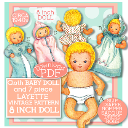 "Make an 8"" Cloth Baby Doll & 7 pc Layette! Circa 1940's! 