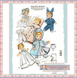 """8-9"""" baby doll layette vintage pattern circa 1950's 8123 bunny ear cap"""